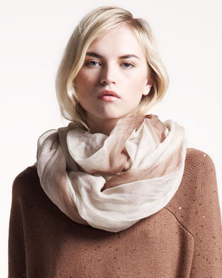 Ombre Boiled Cashmere Scarf, Cream/Rust