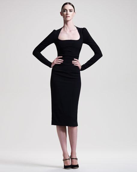 Long-Sleeve Cady Dress