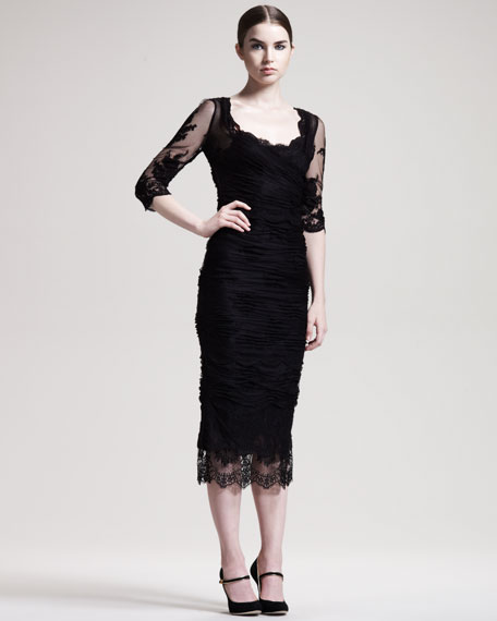 Elbow-Sleeve Ruched Tulle Dress
