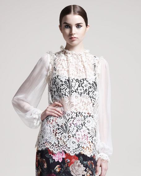 Chiffon-Sleeve Lace Blouse