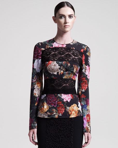 Lace-Inset Floral Blouse