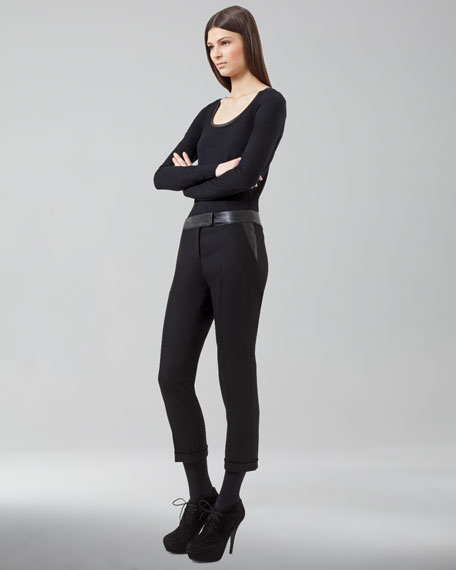 Faux-Leather-Trimmed Frankie Pants