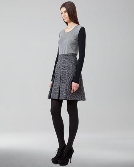 Pleated Trompe l'Oeil-Tweed Skirt