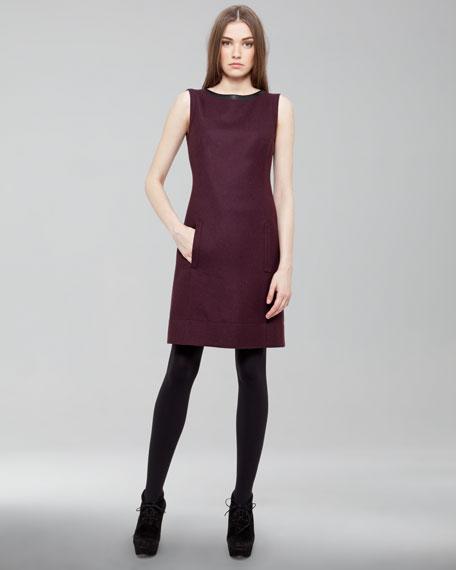 Leather-Trimmed Gabardine Dress