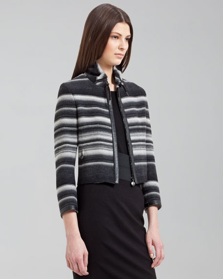 Cropped Striped Wool Jacket