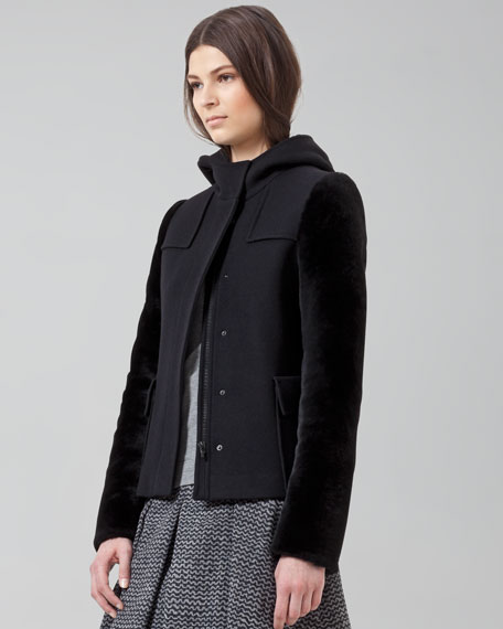 Shearling-Sleeve Coat