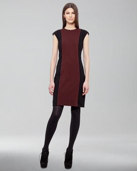 Bicolor Cap-Sleeve Dress