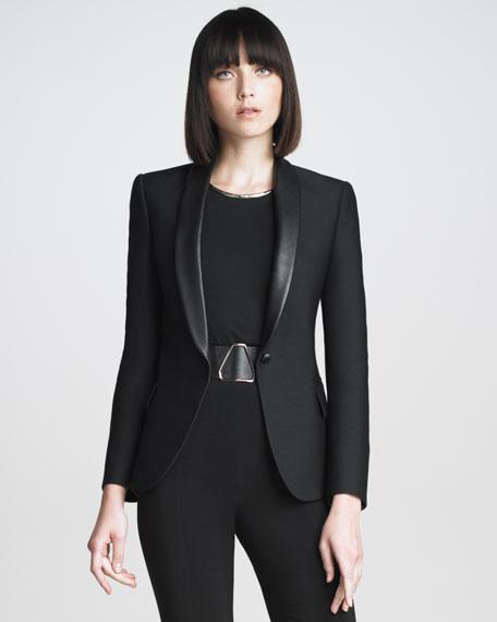 Leather-Collar Blazer