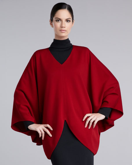 Knit V-Neck Poncho