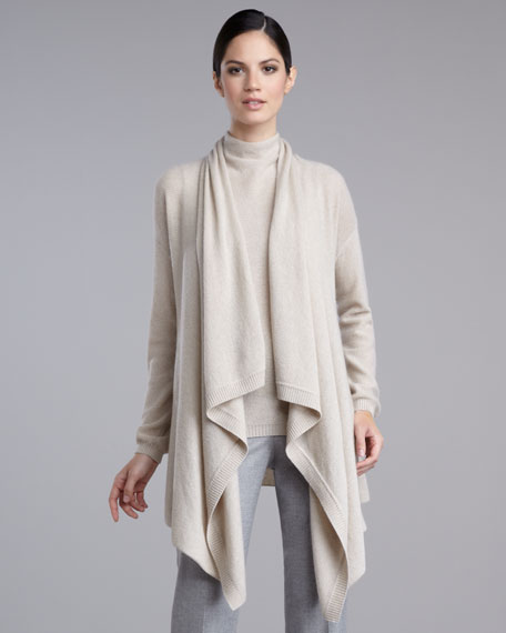 Micro-Link Draped Cashmere Cardigan