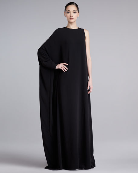Single-Sleeve Crepe Gown