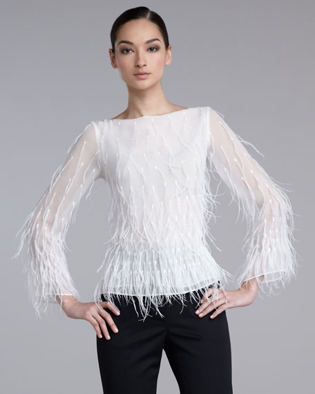 Feather-Sequin Chiffon Blouse