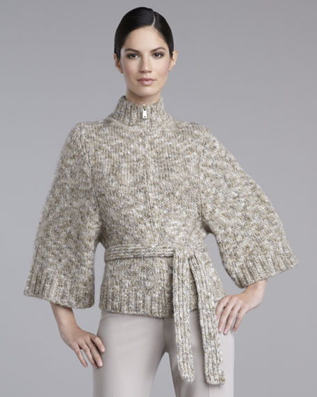 Front-Zip Tweed Cardigan