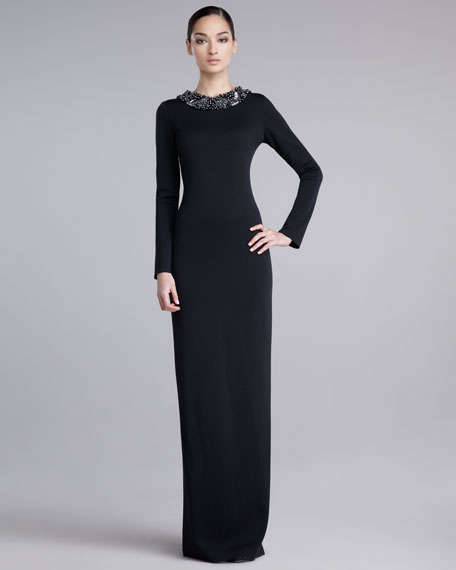 Bead-Neck Knit Gown