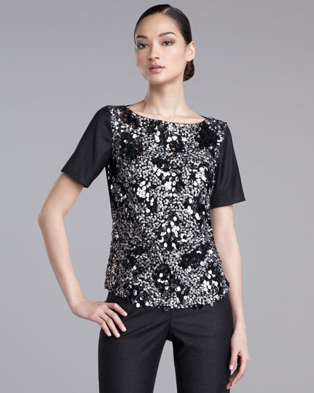Sequined Stretch-Flannel Top