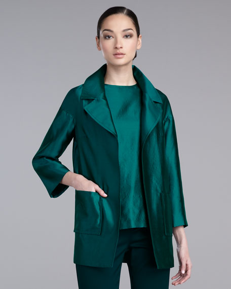 Taffeta Topper Jacket, Pale Lapis