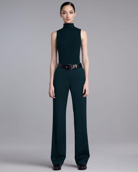 Shelley Stretch-Wool Pants, Dark Lapis