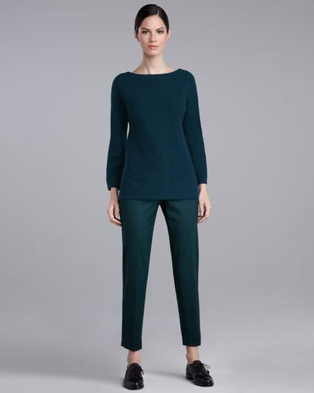 Emma Stretch-Wool Pants, Dark Emerald