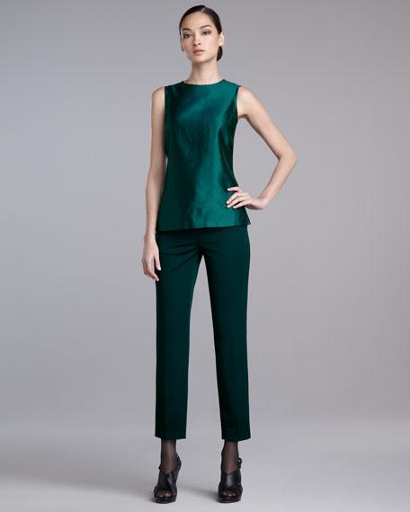 Emma Stretch-Wool Pants, Dark Lapis
