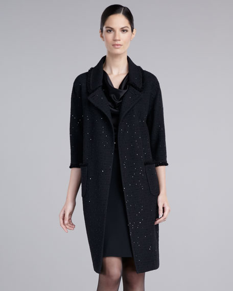 Sequined Boucle Coat