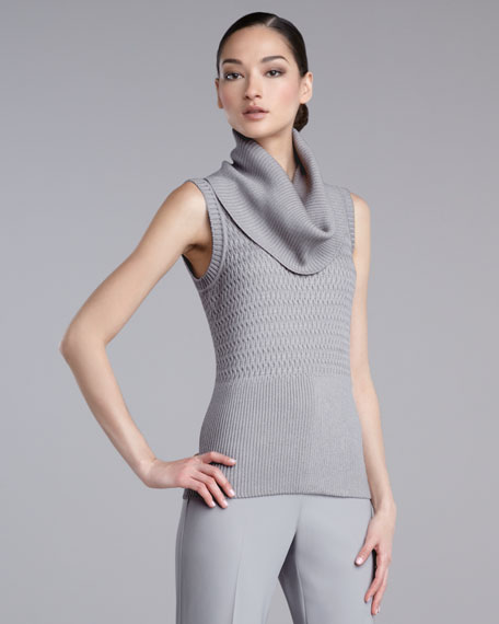 Chain-Knit Cowl-Neck Shell