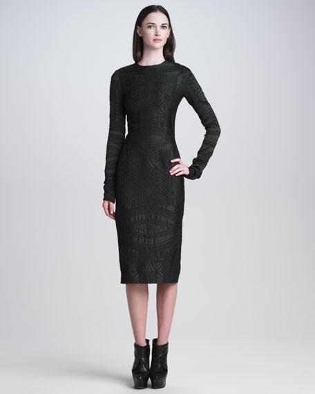 Long-Sleeve Brocade Sheath Dress