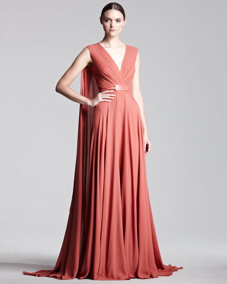 Cape-Back Georgette Gown