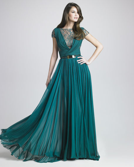Lattice Chiffon Gown