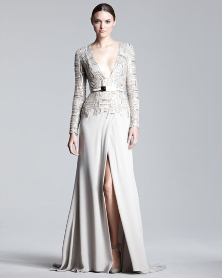 Long-Sleeve Tweed-Bodice Gown