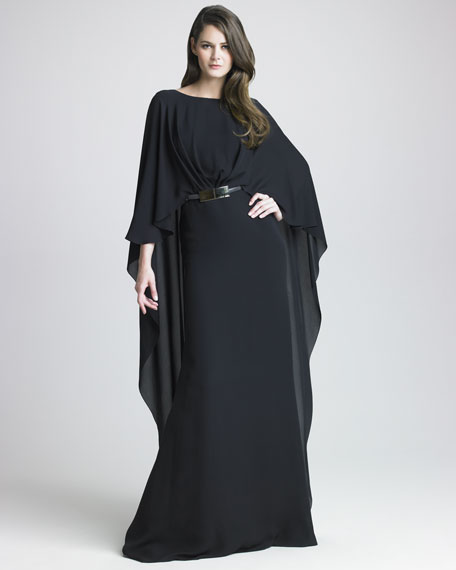 Silk Georgette Capelet Gown