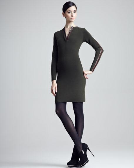 Lambskin-Trimmed Wool Sheath Dress