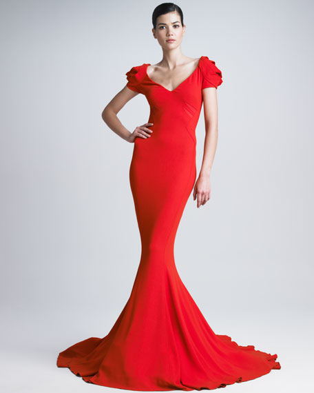 Stretch Crepe Mermaid Gown