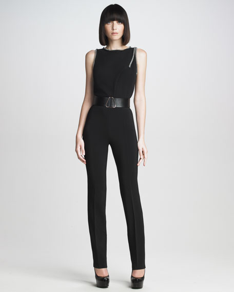 Pleated Stretch-Cady Pants