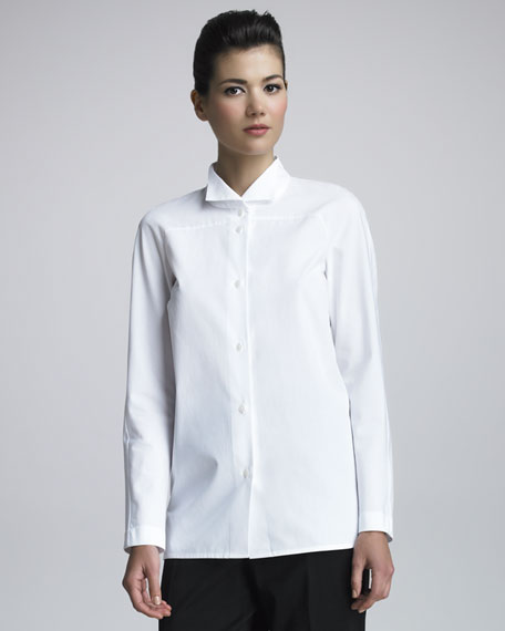 Wing-Collar Poplin Shirt