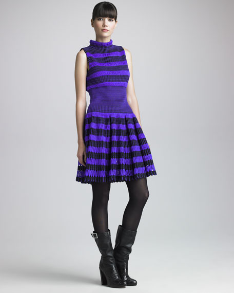 Striped Thick-Mesh Dress