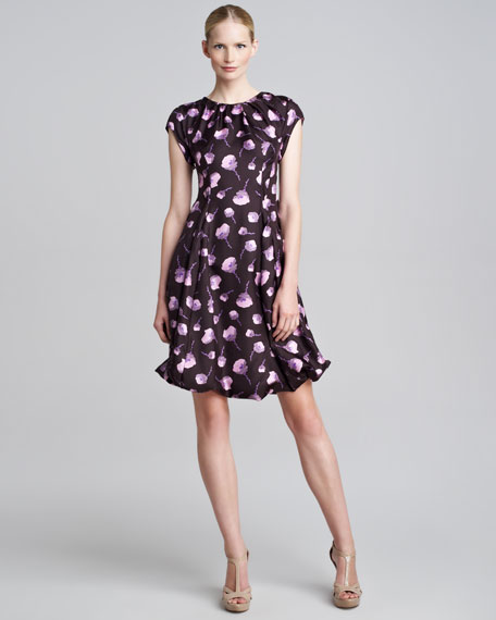 Poppy-Print Cap-Sleeve Dress