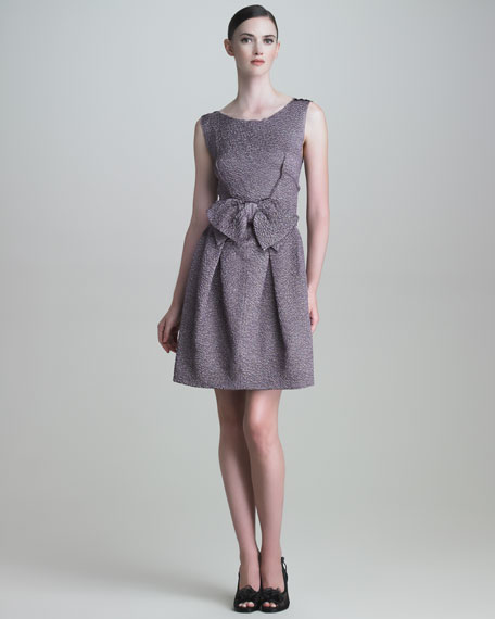 Bow-Front Cloque Dress
