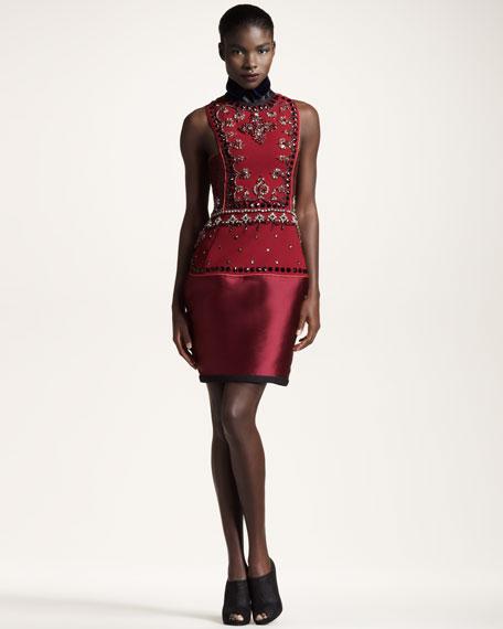 Jeweled Mixed Media Dress