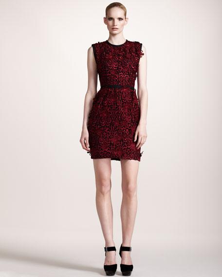 Contrast-Trim Lace Dress