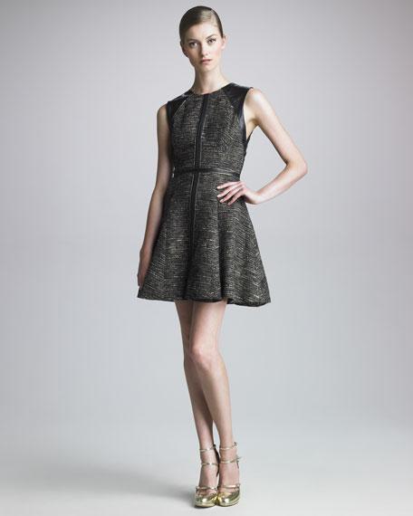 Leather-Back Godet Dress