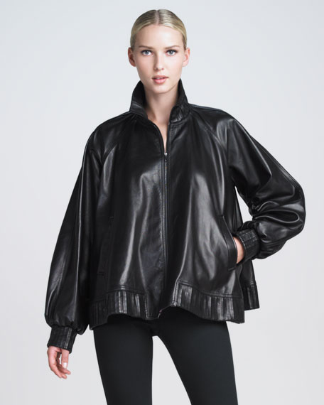 Zip-Front Leather Poncho Jacket