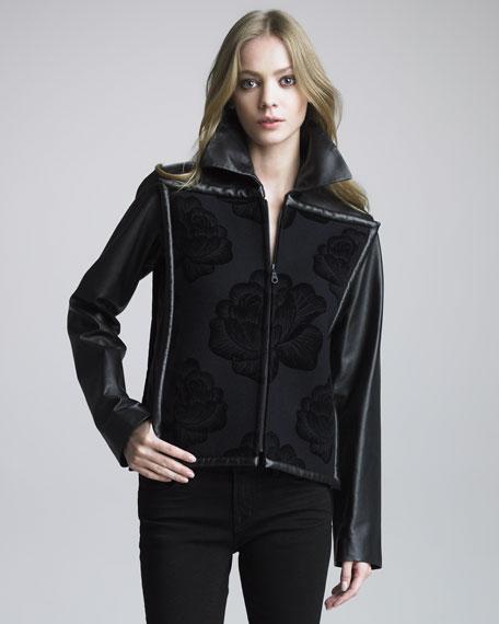 Leather-Sleeve Box Jacket