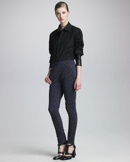 Leopard-Print Skinny Pants
