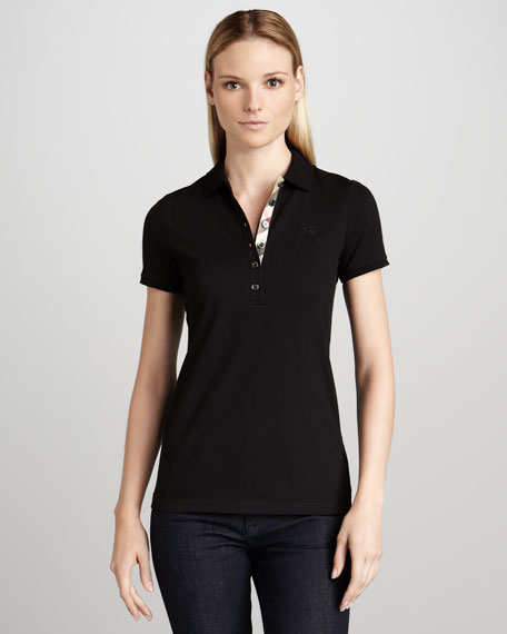 Basic Check-Placket Polo, Black