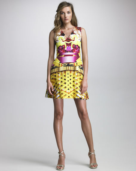 Sleeveless Pencil Cage-Print Dress