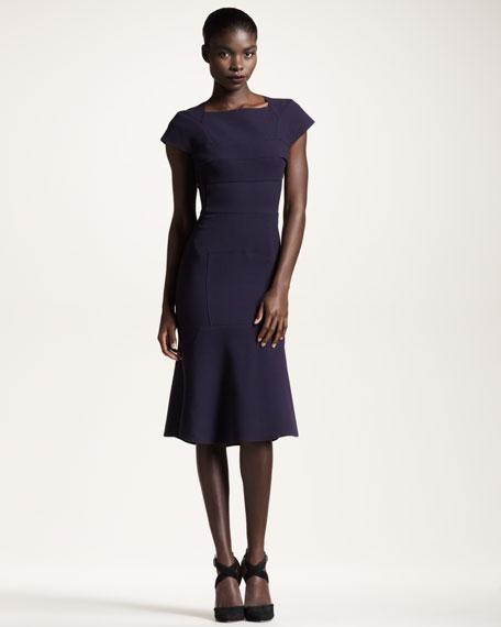 Maylie Crepe Dress, Grape