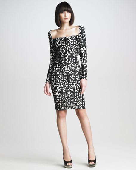 Square-Neck Lace Dress