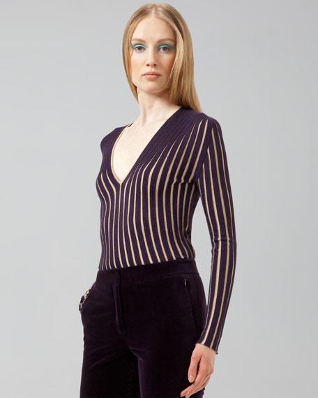 Ribbed V-Neck Pullover