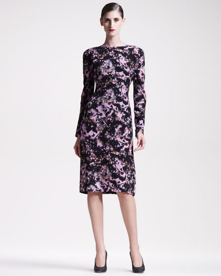 Printed Crepe Long-Sleeve Dress