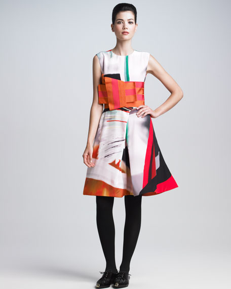Printed Silk Origami Dress